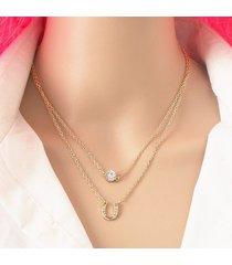 collana a più strati di moda con strass collana a forma di ciondolo a forma di ciondolo per le donne
