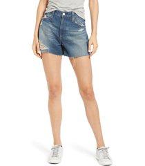 women's ag alexxis high waist cutoff denim shorts, size 25 - blue
