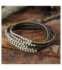 braided wrap bracelet, 'karen khaki chic' (thailand)