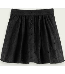 scotch & soda broderie anglaise short skirt - midnight black