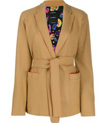 canessa short belted waist jacket - brown