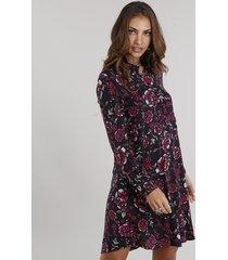 vestido feminino chemise estampado floral curto manga longa preto