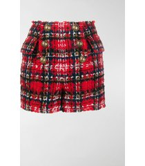 balmain frayed check tweed shorts