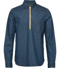 lot 22 popover denim worker shirt with contrast zipper overhemd casual blauw scotch & soda