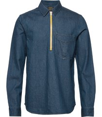 lot 22 popover denim worker shirt with contrast zipper overhemd casual blauw scotch & soda