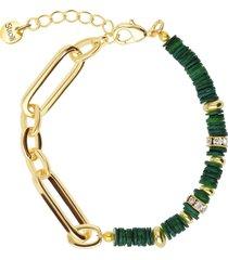 bracciale in ottone dorato con elementi conchiglia verde e strass per donna