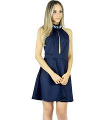 vestido liage curto liso frente única gola bordada com pedras transparentes azul marinho / navy