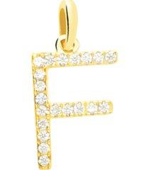 ciondolo lettera f in oro giallo e zirconi per donna