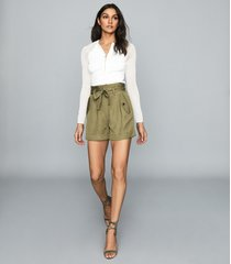 reiss lorena - pleated twill shorts in olive, womens, size 12