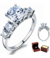 five-stone 2 ct round diamond sterling 925 silver bridal wedding engagement ring