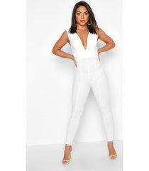 contoured plunge jumpsuit, white