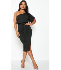 one shoulder batwing midi dress, black