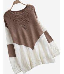 maglioni pullover patchwork a contrasto sciolto donna