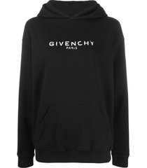 givenchy vintage-effect logo oversized hoodie - black