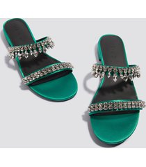 na-kd shoes embellished slip-in sandals - green