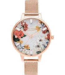 olivia burton women's sparkle floral rose gold-tone mesh bracelet watch 34mm