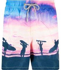 mc2 saint barth sunset-print elasticated-waist swim shorts - pink