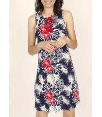 jurk admas mouwloze zomerjurk tropische marine adma's