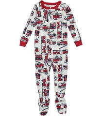boy's carters firetruck one-piece long sleeve footed pajamas sleepwear 18 24 mo