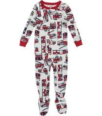 boy's carters firetruck one-piece long sleeve footed pajamas sleepwear 18 24 mo