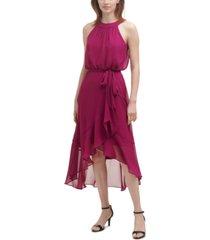 jessica howard chiffon blouson high-low dress