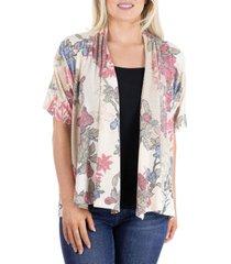 women's short sleeve open front floral cardigan