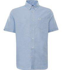 fred perry short sleeve oxford shirt   light smoke   m2701-146
