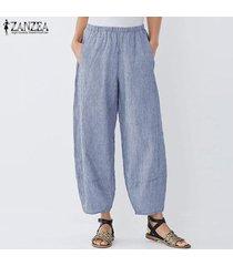 zanzea mujeres anchas piernas harem elástico de la cintura casual pantalones largos holgados pantalones plus -azul
