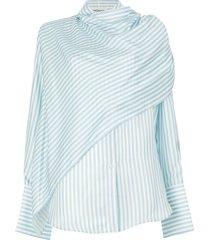 monse scarf front striped shirt - blue