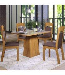 mesa de jantar 4 lugares elza seda/bronze/fumê - viero móveis