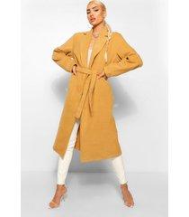 lange nepwollen jas met riem, kameel