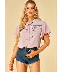 yoins rosa blusa de manga corta con cuello alto y lazo
