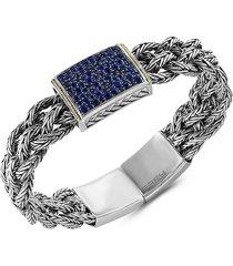 effy women's 18k yellow gold, sterling silver & sapphire bangle bracelet