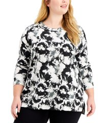jenni plus size tie-dyed pajama top, created for macy's