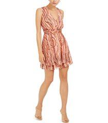 bar iii printed ruched-waist mini dress, created for macy's