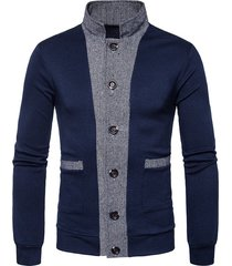 button up color block panel cardigan