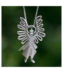sterling silver pendant necklace, 'michael archangel' (brazil)