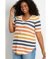 maurices plus size womens 24/7 multi color striped flawless tunic tee