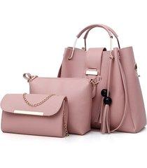 borsa a tracolla in nappa da donna in tre pezzi borsa