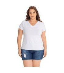 blusa t-shirts plus size decote v lisa. branco