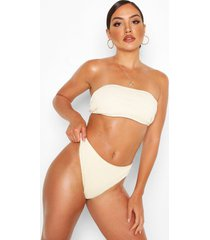 hoog uitgesneden geplooide bandeau bikini, crème