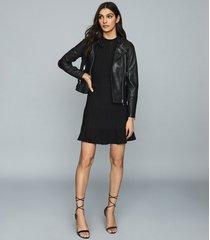reiss tallis - leather biker jacket in black, womens, size 12