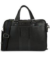 keaton croc-embossed leather briefcase