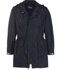 emporio armani rear logo print drawstring waist coat - blue