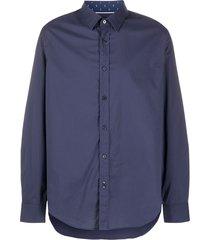 boss pointed collar cotton shirt - blue