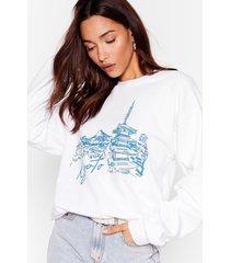 womens kyoto to the bay graphic sweatshirt - white