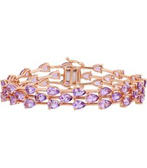 amethyst (16-3/4 ct. t.w.) triple row bracelet in 18k rose gold over sterling silver