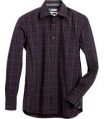 joseph abboud navy & red plaid modern fit sport shirt