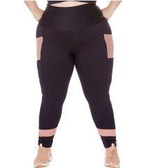 calça legging com proteção solar uv wonder size ju romano - feminina - preto/rosa cla
