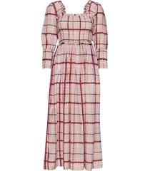 cotton silk maxi dress galajurk roze ganni